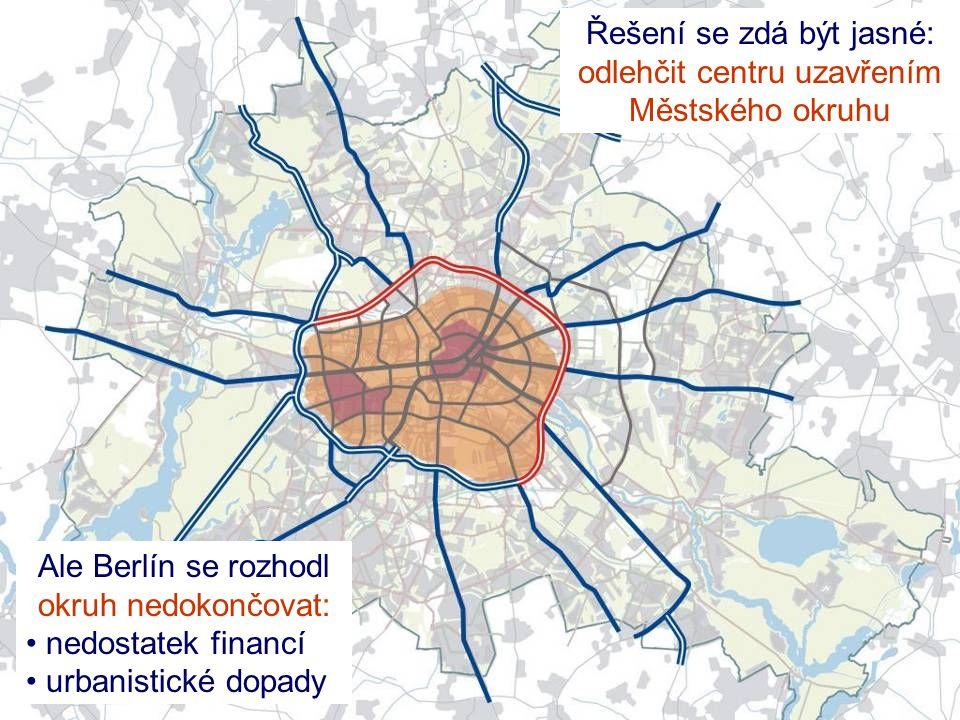 Ale Berlín se rozhodl okruh nedokončovat: • nedostatek financí • urbanistické dopady Řešení se zdá být jasné: odlehčit centru uzavřením Městského okru