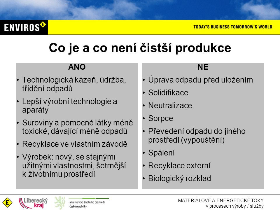 MATERIÁLOVÉ A ENERGETICKÉ TOKY v procesech výroby / služby Co je a co není čistší produkce ANO •Technologická kázeň, údržba, třídění odpadů •Lepší výrobní technologie a aparáty •Suroviny a pomocné látky méně toxické, dávající méně odpadů •Recyklace ve vlastním závodě •Výrobek: nový, se stejnými užitnými vlastnostmi, šetrnější k životnímu prostředí NE •Úprava odpadu před uložením •Solidifikace •Neutralizace •Sorpce •Převedení odpadu do jiného prostředí (vypouštění) •Spálení •Recyklace externí •Biologický rozklad