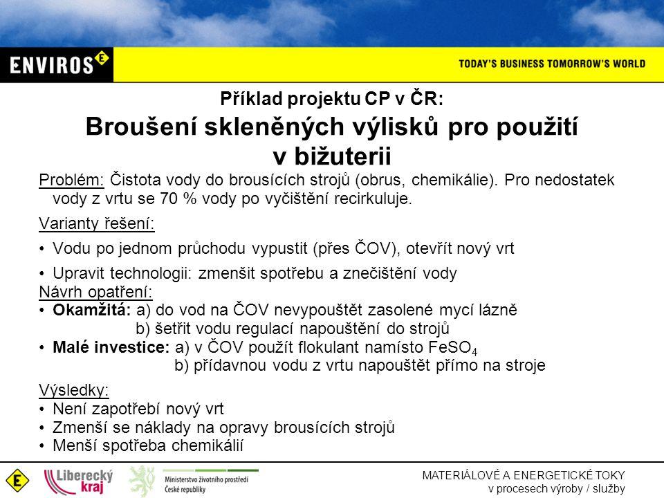 MATERIÁLOVÉ A ENERGETICKÉ TOKY v procesech výroby / služby Příklad projektu CP v ČR: Broušení skleněných výlisků pro použití v bižuterii Problém: Čistota vody do brousících strojů (obrus, chemikálie).