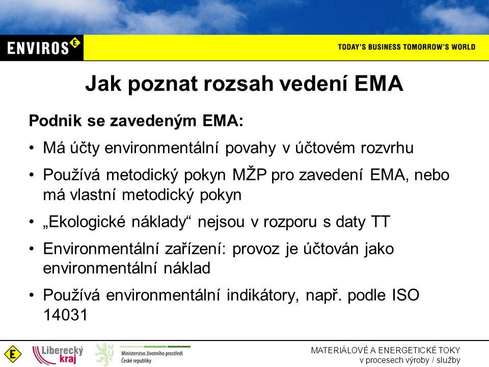 """MATERIÁLOVÉ A ENERGETICKÉ TOKY v procesech výroby / služby Jak poznat rozsah vedení EMA Podnik se zavedeným EMA: •Má účty environmentální povahy v účtovém rozvrhu •Používá metodický pokyn MŽP pro zavedení EMA, nebo má vlastní metodický pokyn •""""Ekologické náklady nejsou v rozporu s daty TT •Environmentální zařízení: provoz je účtován jako environmentální náklad •Používá environmentální indikátory, např."""
