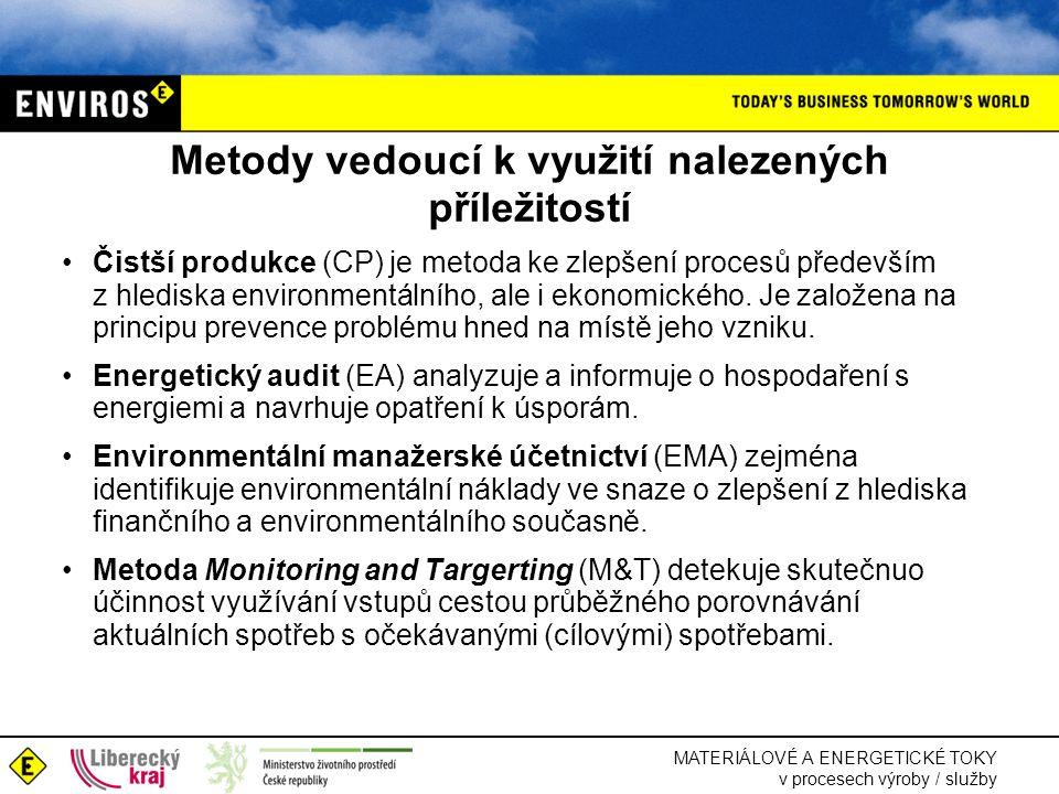 """MATERIÁLOVÉ A ENERGETICKÉ TOKY v procesech výroby / služby Čistší produkce (CP) •Strategie prevence v ochraně životního prostředí, zaměřená na procesy, výrobky a služby •U procesů usiluje o –efektivnější využívání surovin a energií –vyloučení / omezení toxických a nebezpečných materiálů –prevenci vzniku odpadů u zdroje •Strategie """"dvojího zisku - zvýšení účinnosti z hlediska environmentálního i ekonomického = zvýšení koefektivnosti"""