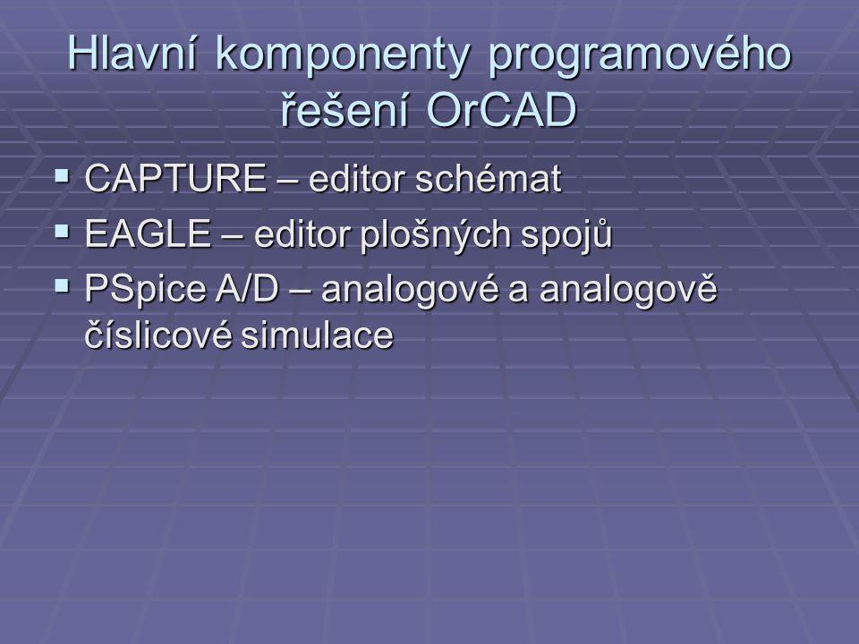 Hlavní komponenty programového řešení OrCAD  CAPTURE – editor schémat  EAGLE – editor plošných spojů  PSpice A/D – analogové a analogově číslicové