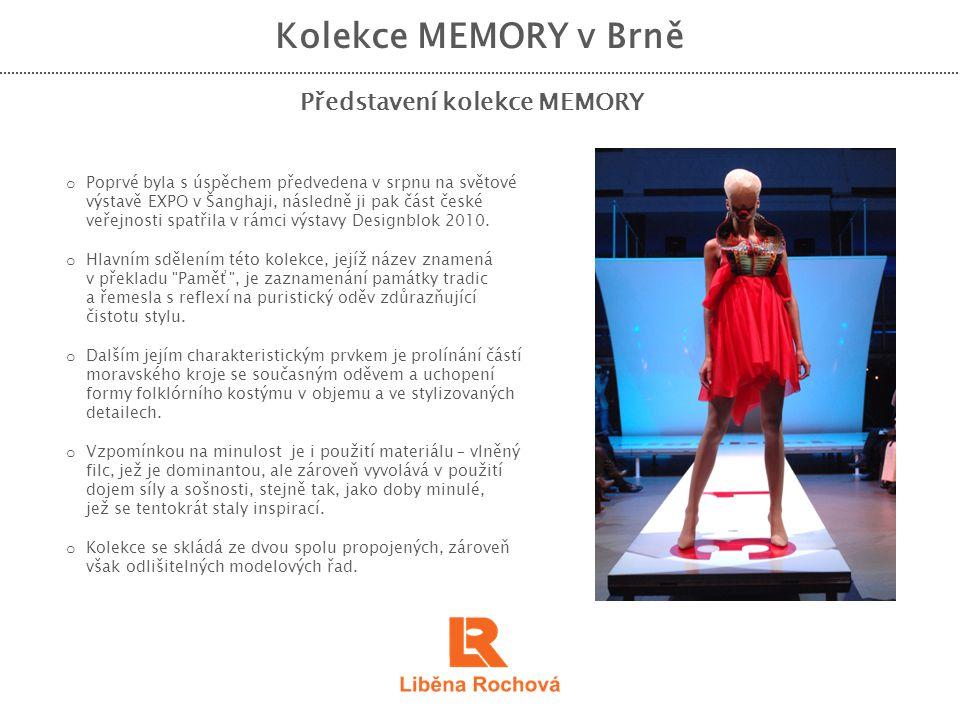 Kolekce MEMORY v Brně Výstava a vernisáž o Touhou autorky je předvést tuto kolekci v Brně, nikoliv pouze v podobě módní přehlídky, ale formou několikatýdenní výstavy, která bude přístupná široké veřejnosti.