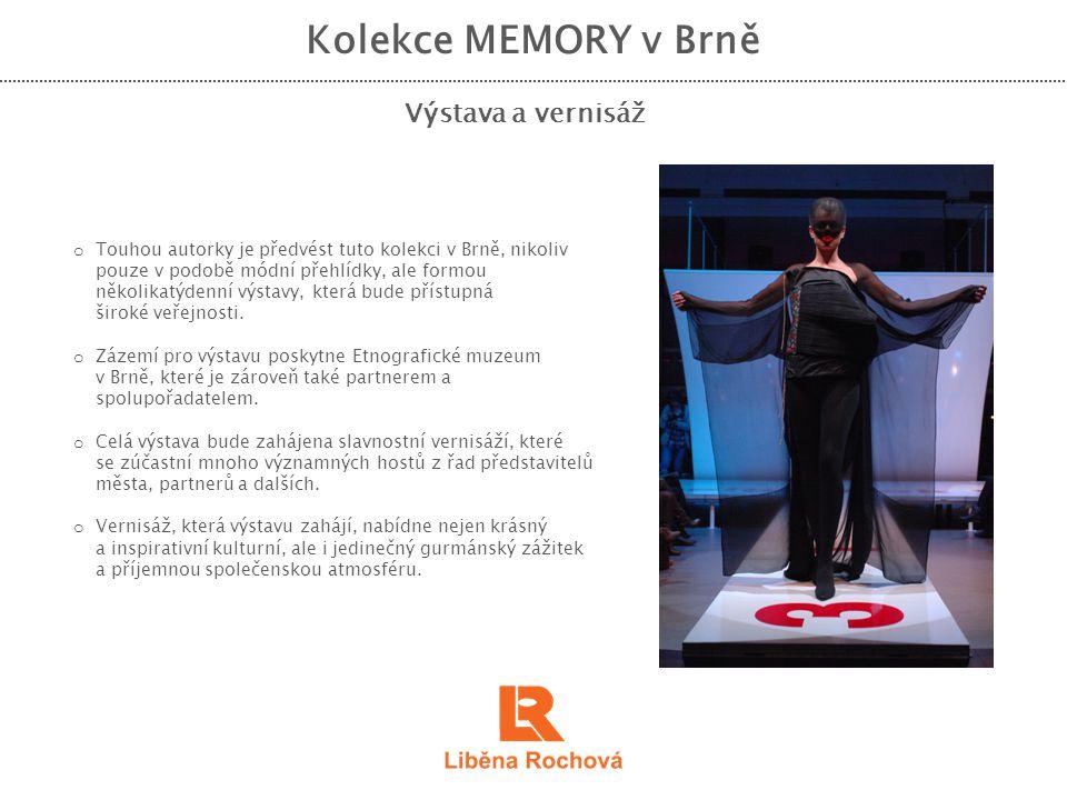 Kolekce MEMORY v Brně Výstava a vernisáž o Touhou autorky je předvést tuto kolekci v Brně, nikoliv pouze v podobě módní přehlídky, ale formou několika