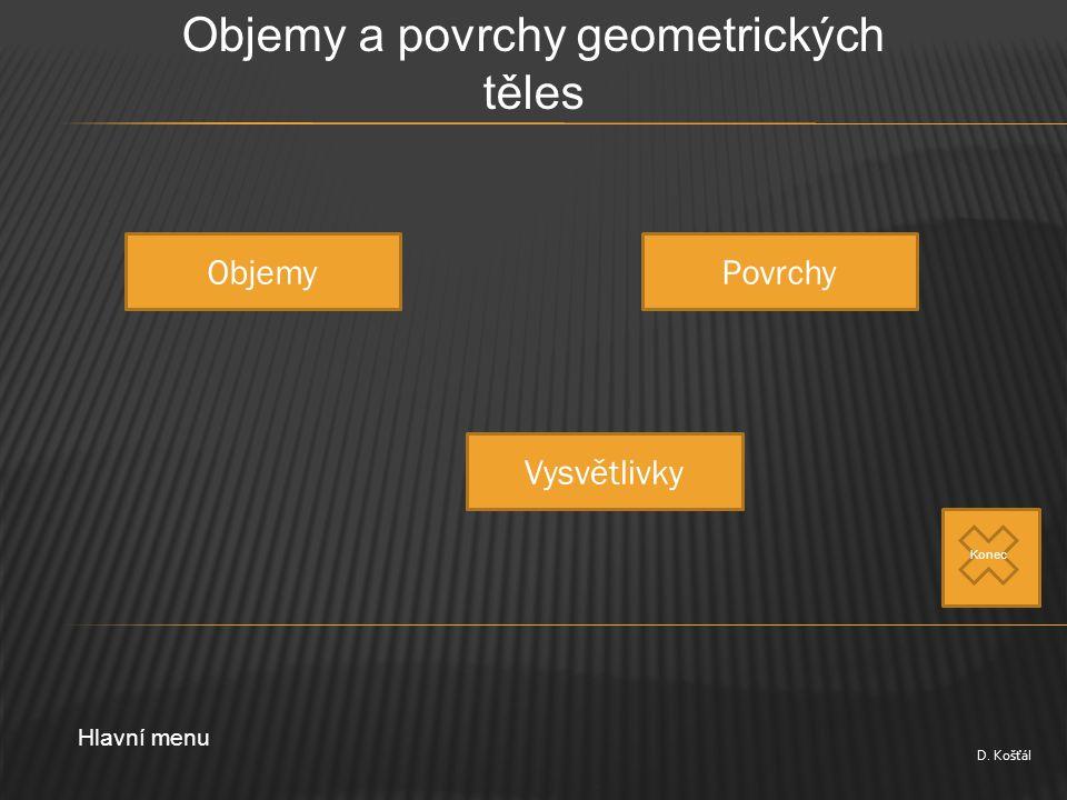 D. Košťál Objemy a povrchy geometrických těles ObjemyPovrchy Vysvětlivky Hlavní menu Konec