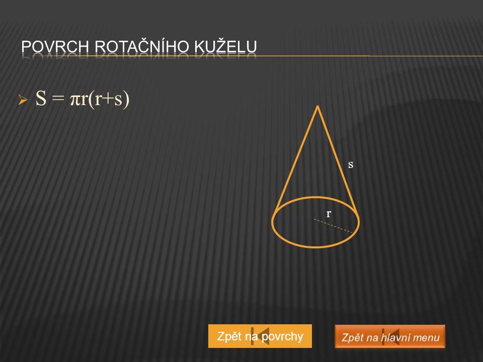  S = 2πr (r + v) Zpět na povrchy v r