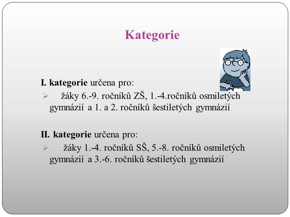 Kategorie I. kategorie určena pro:  žáky 6.-9. ročníků ZŠ, 1.-4.ročníků osmiletých gymnázií a 1. a 2. ročníků šestiletých gymnázií II. kategorie urče