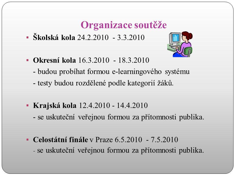 Organizace soutěže  Školská kola 24.2.2010 - 3.3.2010  Okresní kola 16.3.2010 - 18.3.2010 - budou probíhat formou e-learningového systému - testy bu