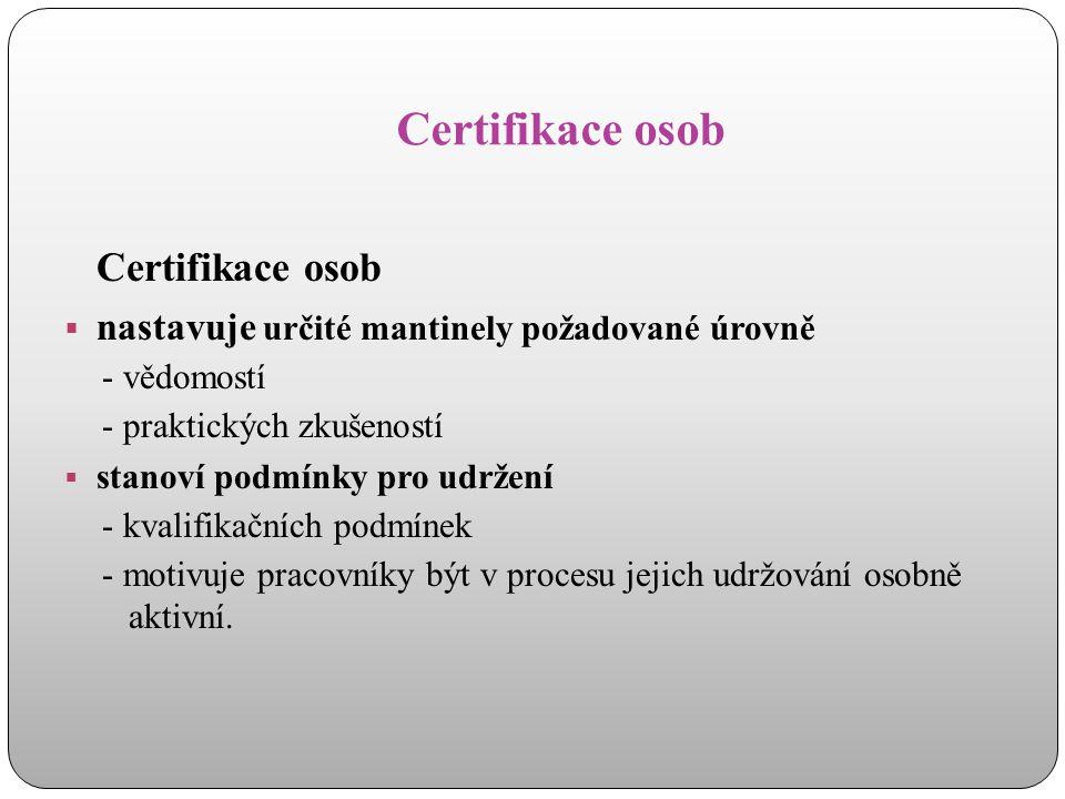 Certifikace osob  nastavuje určité mantinely požadované úrovně - vědomostí - praktických zkušeností  stanoví podmínky pro udržení - kvalifikačních p