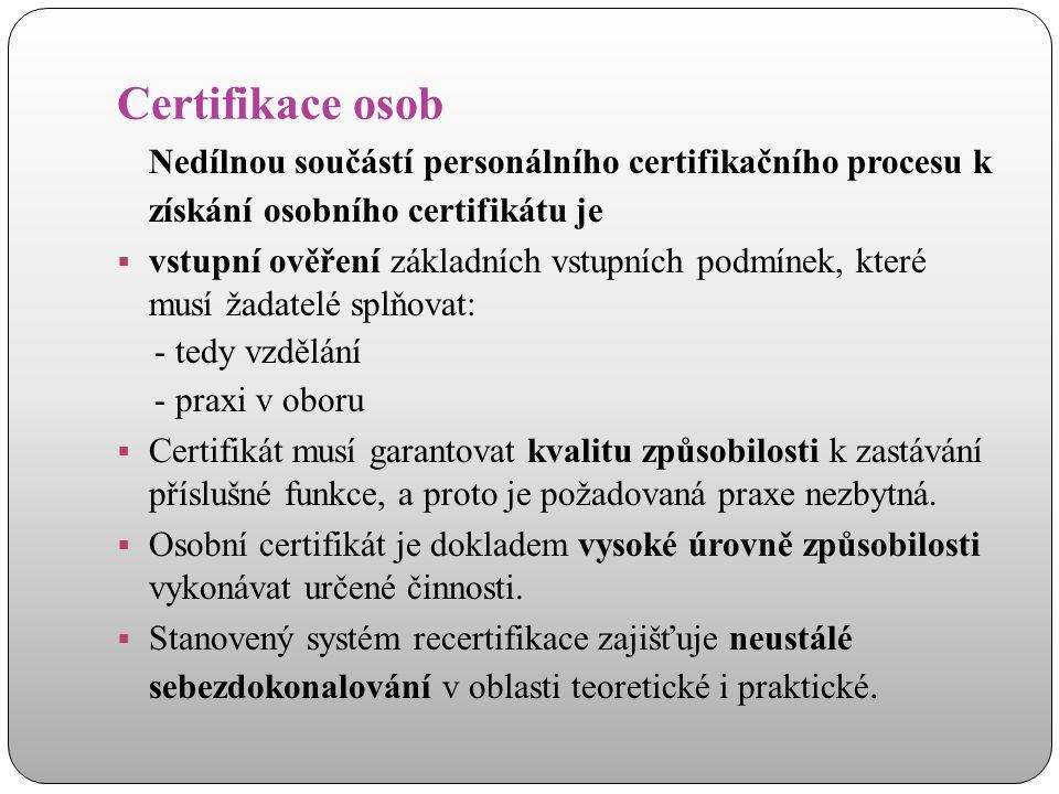 Certifikace osob Nedílnou součástí personálního certifikačního procesu k získání osobního certifikátu je  vstupní ověření základních vstupních podmín