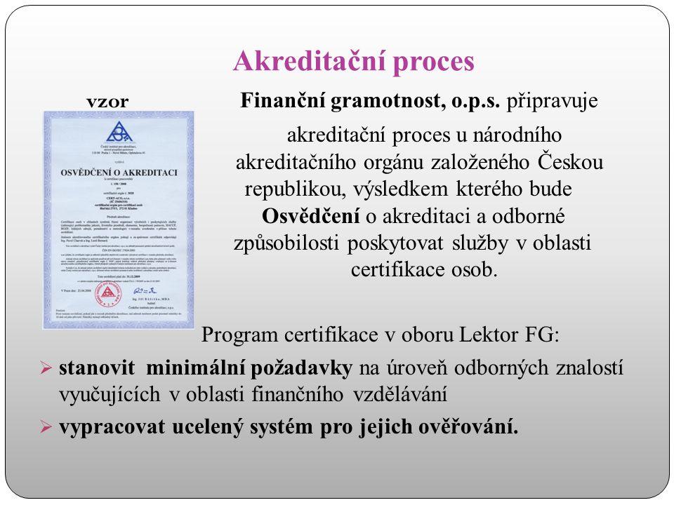 Akreditační proces vzor Finanční gramotnost, o.p.s. připravuje akreditační proces u národního akreditačního orgánu založeného Českou republikou, výsle