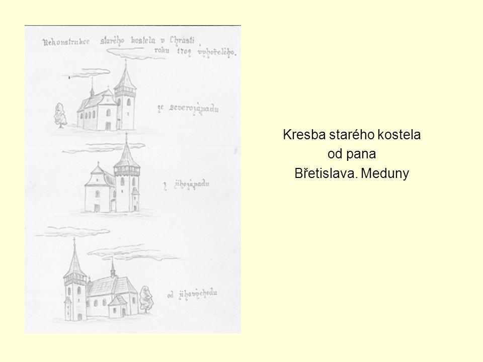 Kresba starého kostela od pana Břetislava. Meduny