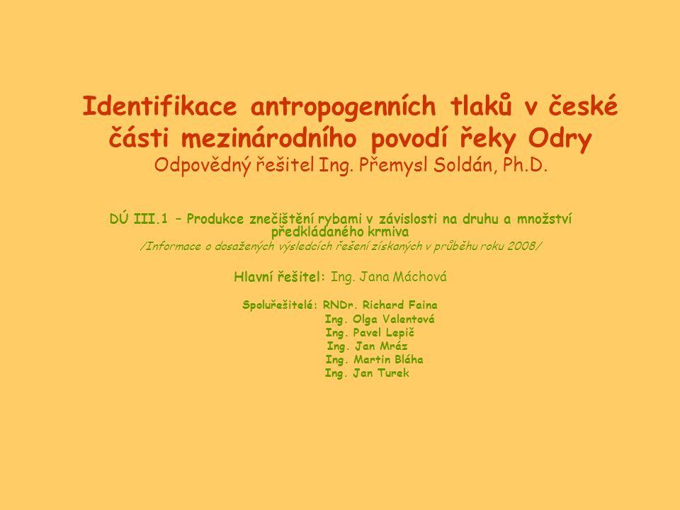 Identifikace antropogenních tlaků v české části mezinárodního povodí řeky Odry Odpovědný řešitel Ing. Přemysl Soldán, Ph.D. DÚ III.1 – Produkce znečiš