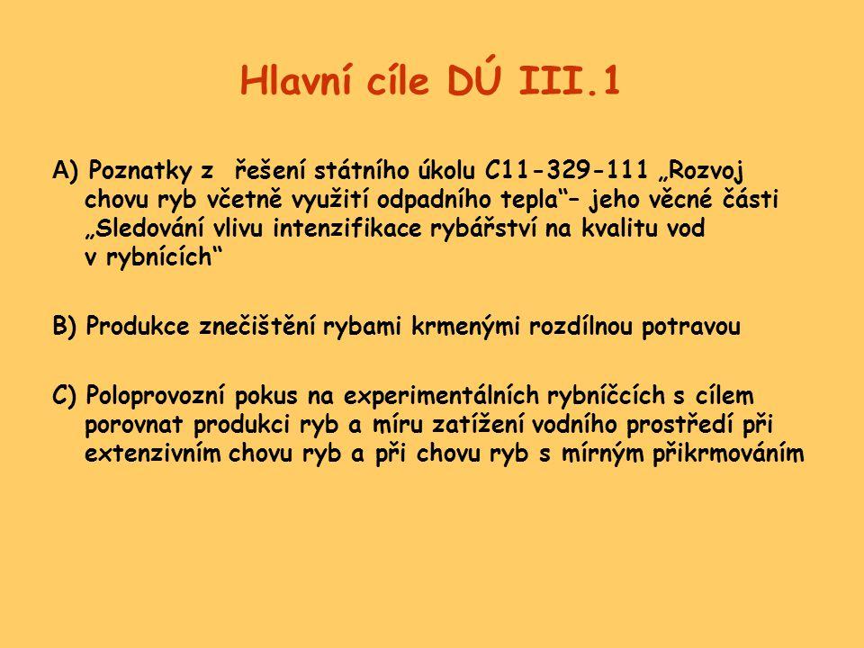 """Hlavní cíle DÚ III.1 A ) Poznatky z řešení státního úkolu C11-329-111 """"Rozvoj chovu ryb včetně využití odpadního tepla""""– jeho věcné části """"Sledování v"""