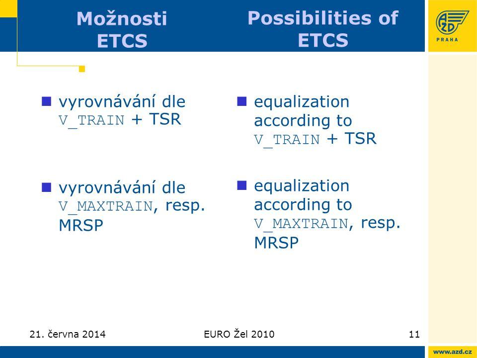 21. června 2014EURO Žel 201011 Možnosti ETCS  vyrovnávání dle V_TRAIN + TSR  vyrovnávání dle V_MAXTRAIN, resp. MRSP  equalization according to V_TR