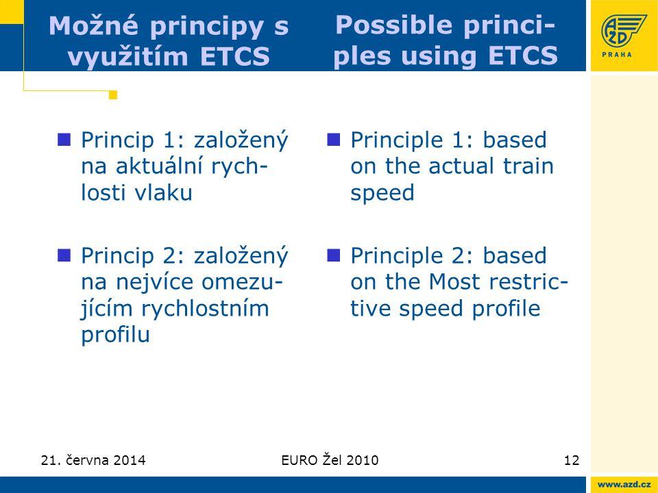 21. června 2014EURO Žel 201012 Možné principy s využitím ETCS  Princip 1: založený na aktuální rych- losti vlaku  Princip 2: založený na nejvíce ome