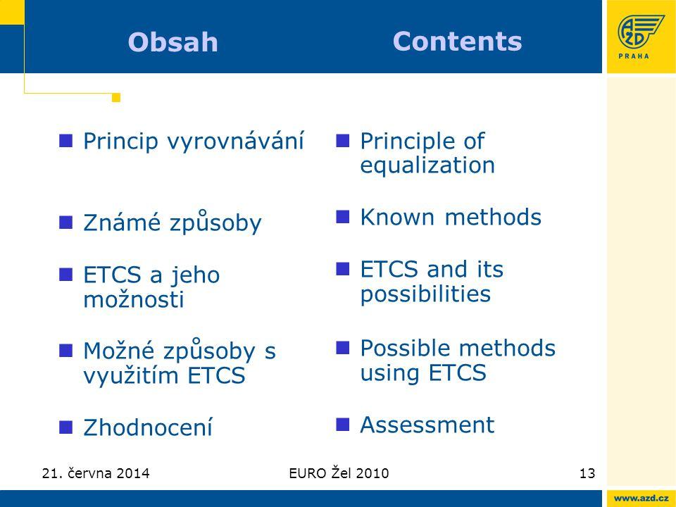 21. června 2014EURO Žel 201013 Obsah  Princip vyrovnávání  Známé způsoby  ETCS a jeho možnosti  Možné způsoby s využitím ETCS  Zhodnocení  Princ