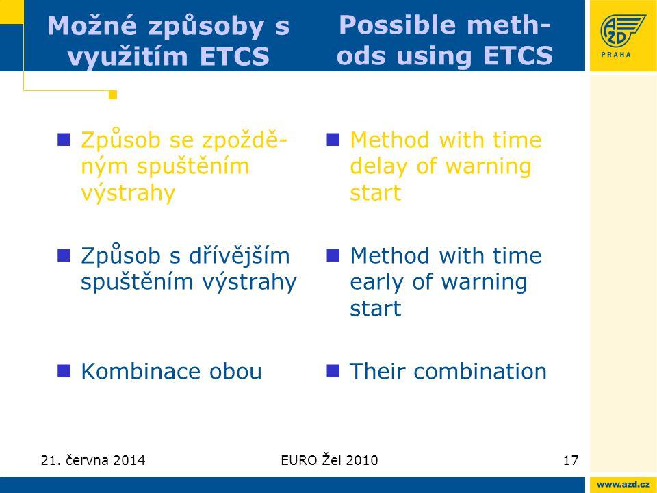 21. června 2014EURO Žel 201017 Možné způsoby s využitím ETCS  Způsob se zpoždě- ným spuštěním výstrahy  Způsob s dřívějším spuštěním výstrahy  Komb