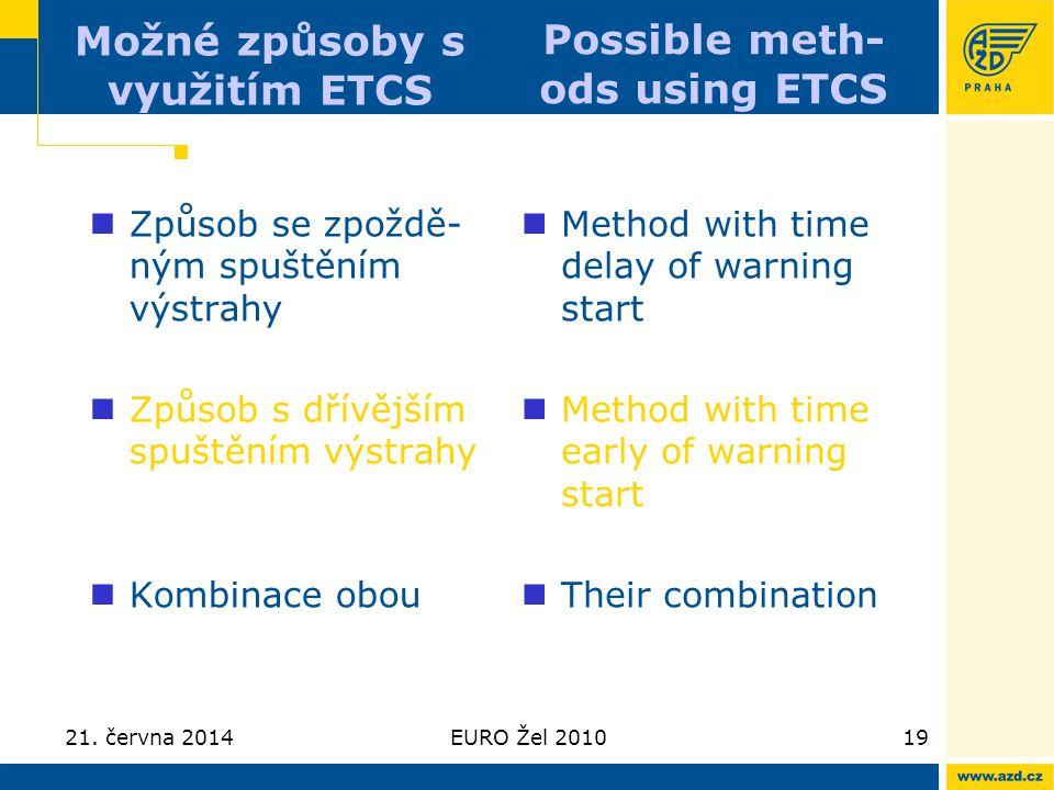 21. června 2014EURO Žel 201019 Možné způsoby s využitím ETCS  Způsob se zpoždě- ným spuštěním výstrahy  Způsob s dřívějším spuštěním výstrahy  Komb