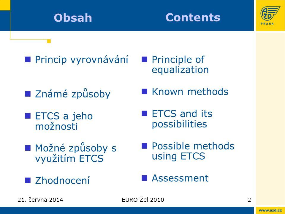21. června 2014EURO Žel 20102 Obsah  Princip vyrovnávání  Známé způsoby  ETCS a jeho možnosti  Možné způsoby s využitím ETCS  Zhodnocení  Princi