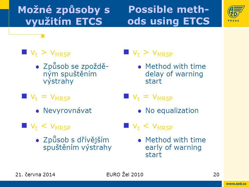 21. června 2014EURO Žel 201020 Možné způsoby s využitím ETCS  v t > v MRSP ●Způsob se zpoždě- ným spuštěním výstrahy  v t = v MRSP ●Nevyrovnávat  v