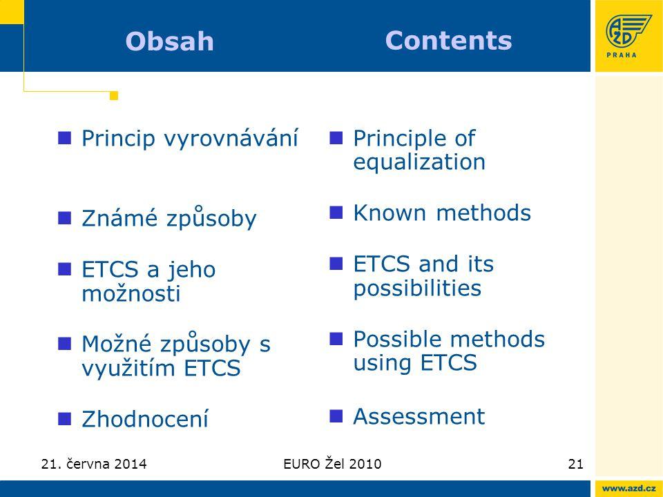 21. června 2014EURO Žel 201021 Obsah  Princip vyrovnávání  Známé způsoby  ETCS a jeho možnosti  Možné způsoby s využitím ETCS  Zhodnocení  Princ