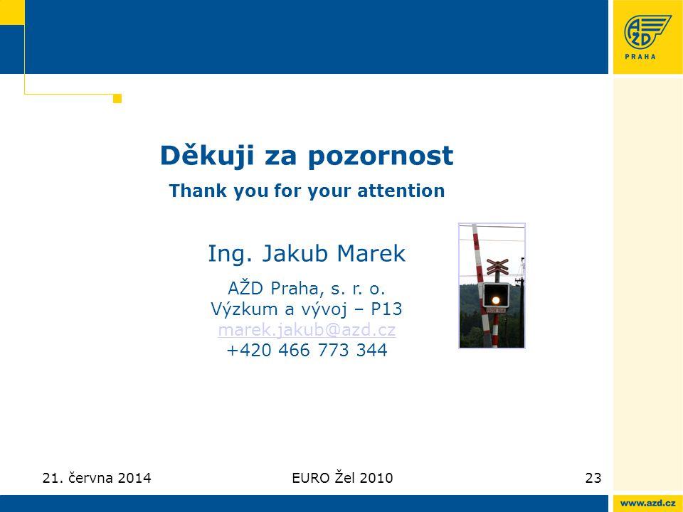 21. června 2014EURO Žel 201023 Děkuji za pozornost Thank you for your attention Ing. Jakub Marek AŽD Praha, s. r. o. Výzkum a vývoj – P13 marek.jakub@