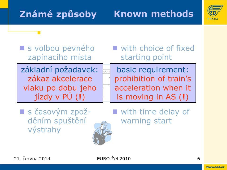 21. června 2014EURO Žel 20106 Známé způsoby  s volbou pevného zapínacího místa  s časovým zpož- děním spuštění výstrahy  with choice of fixed start