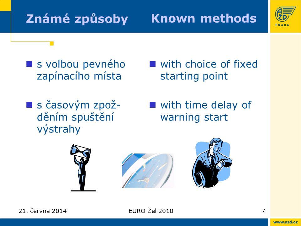 21. června 2014EURO Žel 20107 Známé způsoby  s volbou pevného zapínacího místa  s časovým zpož- děním spuštění výstrahy  with choice of fixed start