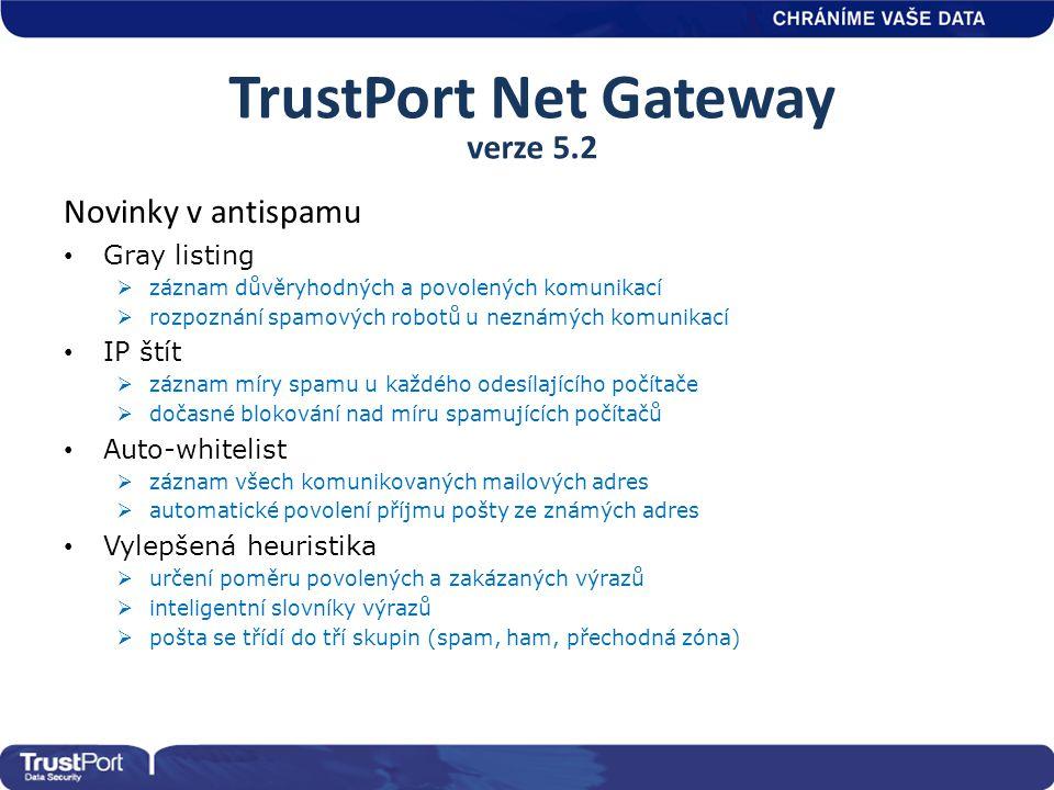 TrustPort Net Gateway verze 5.2 Novinky v antispamu • Gray listing  záznam důvěryhodných a povolených komunikací  rozpoznání spamových robotů u nezn