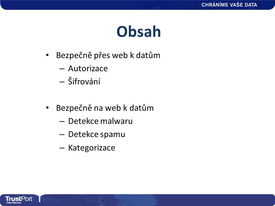 Obsah • Bezpečně přes web k datům – Autorizace – Šifrování • Bezpečně na web k datům – Detekce malwaru – Detekce spamu – Kategorizace