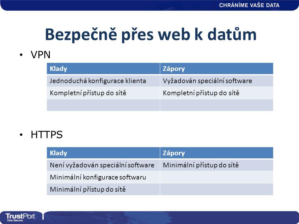 Bezpečně přes web k datům • VPN • HTTPS KladyZápory Jednoduchá konfigurace klientaVyžadován speciální software Kompletní přístup do sítě KladyZápory N