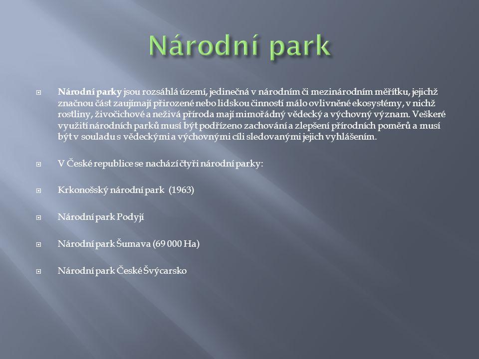  Národní parky jsou rozsáhlá území, jedinečná v národním či mezinárodním měřítku, jejichž značnou část zaujímají přirozené nebo lidskou činností málo