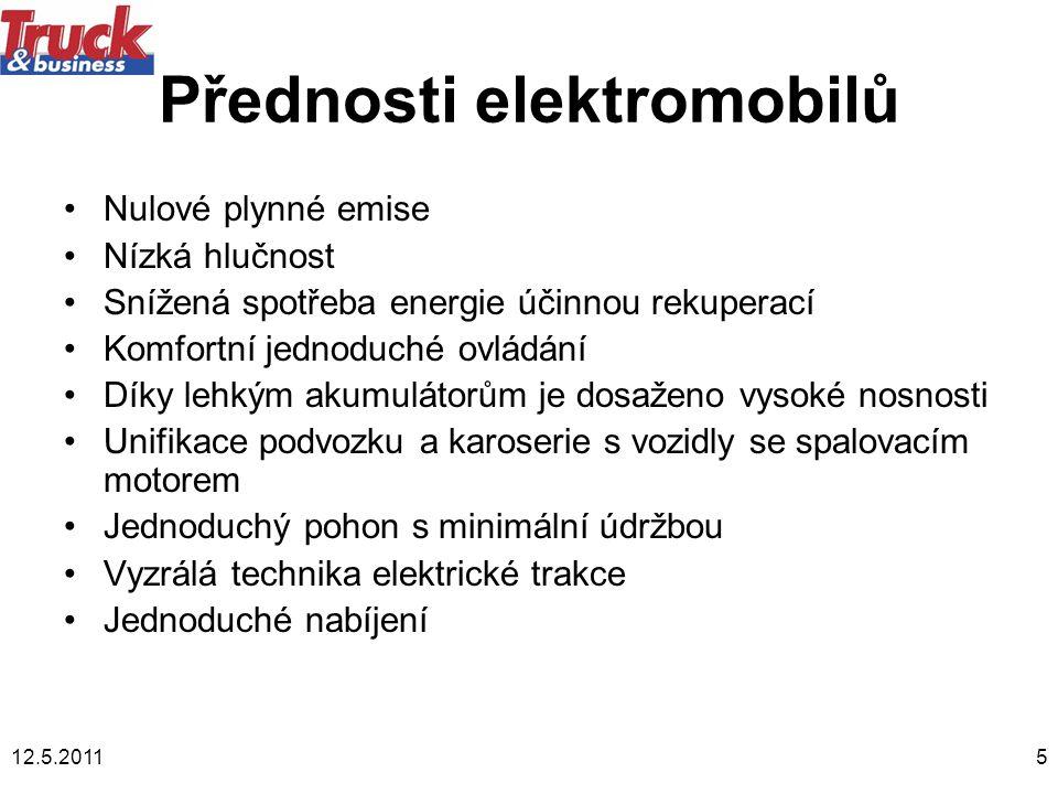 12.5.20115 Přednosti elektromobilů •Nulové plynné emise •Nízká hlučnost •Snížená spotřeba energie účinnou rekuperací •Komfortní jednoduché ovládání •D