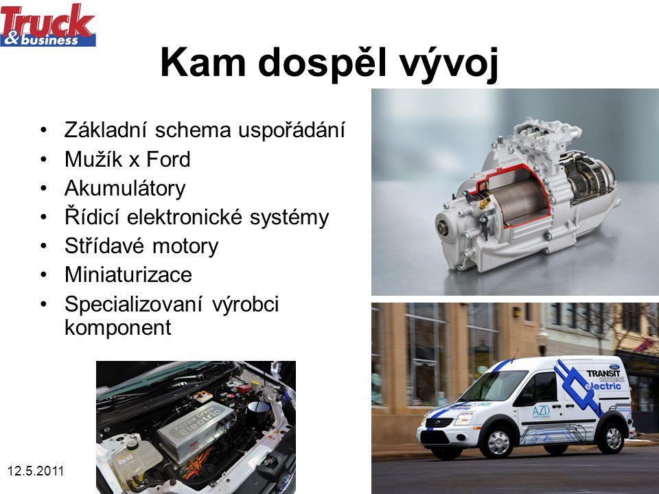 12.5.20118 Kam dospěl vývoj •Základní schema uspořádání •Mužík x Ford •Akumulátory •Řídicí elektronické systémy •Střídavé motory •Miniaturizace •Specializovaní výrobci komponent