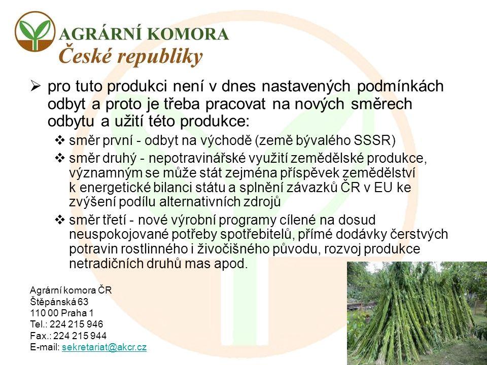 Agrární komora ČR Štěpánská 63 110 00 Praha 1 Tel.: 224 215 946 Fax.: 224 215 944 E-mail: sekretariat@akcr.czsekretariat@akcr.cz  pro tuto produkci n