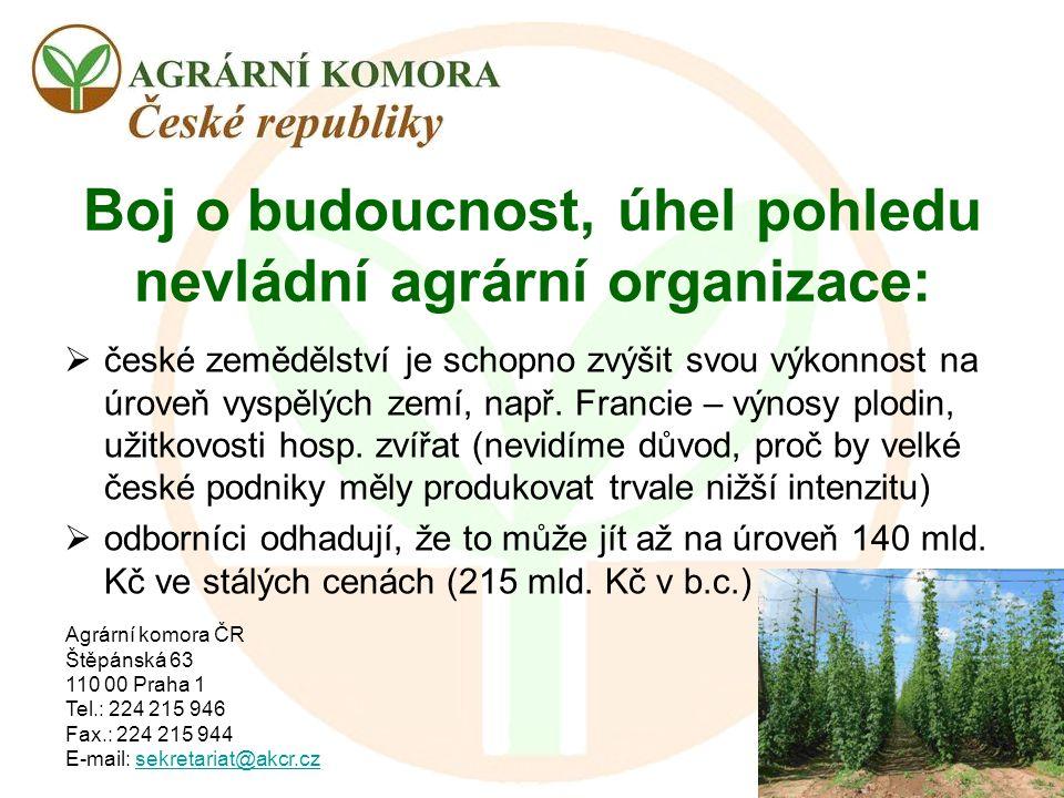 Agrární komora ČR Štěpánská 63 110 00 Praha 1 Tel.: 224 215 946 Fax.: 224 215 944 E-mail: sekretariat@akcr.czsekretariat@akcr.cz Boj o budoucnost, úhe