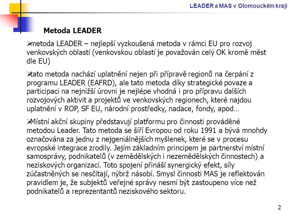 2 LEADER a MAS v Olomouckém kraji Metoda LEADER  metoda LEADER – nejlepší vyzkoušená metoda v rámci EU pro rozvoj venkovských oblastí (venkovskou obl