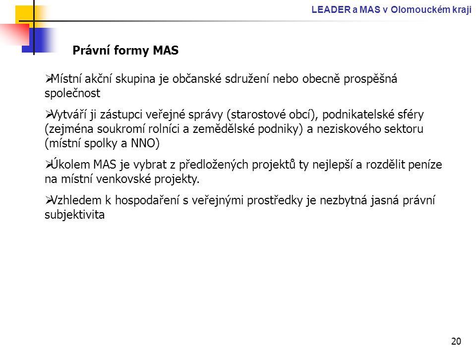 20 LEADER a MAS v Olomouckém kraji Právní formy MAS  Místní akční skupina je občanské sdružení nebo obecně prospěšná společnost  Vytváří ji zástupci