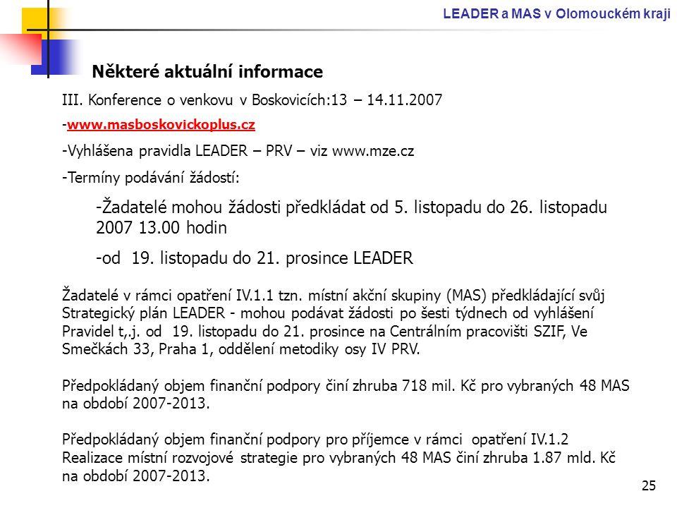 25 LEADER a MAS v Olomouckém kraji Některé aktuální informace III. Konference o venkovu v Boskovicích:13 – 14.11.2007 -www.masboskovickoplus.czwww.mas