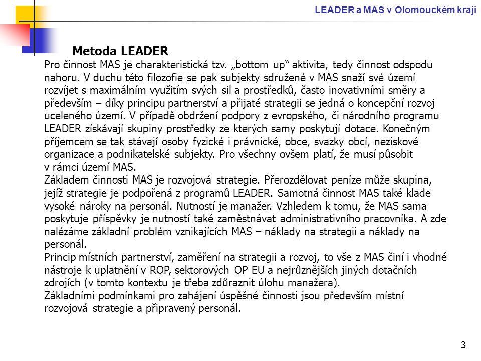 """3 LEADER a MAS v Olomouckém kraji Metoda LEADER Pro činnost MAS je charakteristická tzv. """"bottom up"""" aktivita, tedy činnost odspodu nahoru. V duchu té"""
