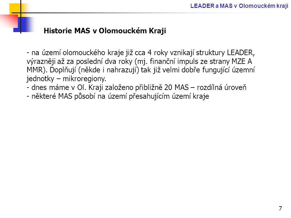 7 LEADER a MAS v Olomouckém kraji Historie MAS v Olomouckém Kraji - na území olomouckého kraje již cca 4 roky vznikají struktury LEADER, výrazněji až