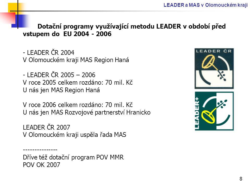 8 LEADER a MAS v Olomouckém kraji Dotační programy využívající metodu LEADER v období před vstupem do EU 2004 - 2006 - LEADER ČR 2004 V Olomouckém kra
