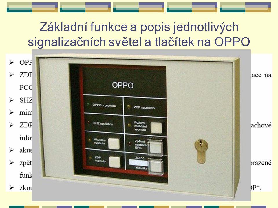 Základní funkce a popis jednotlivých signalizačních světel a tlačítek na OPPO