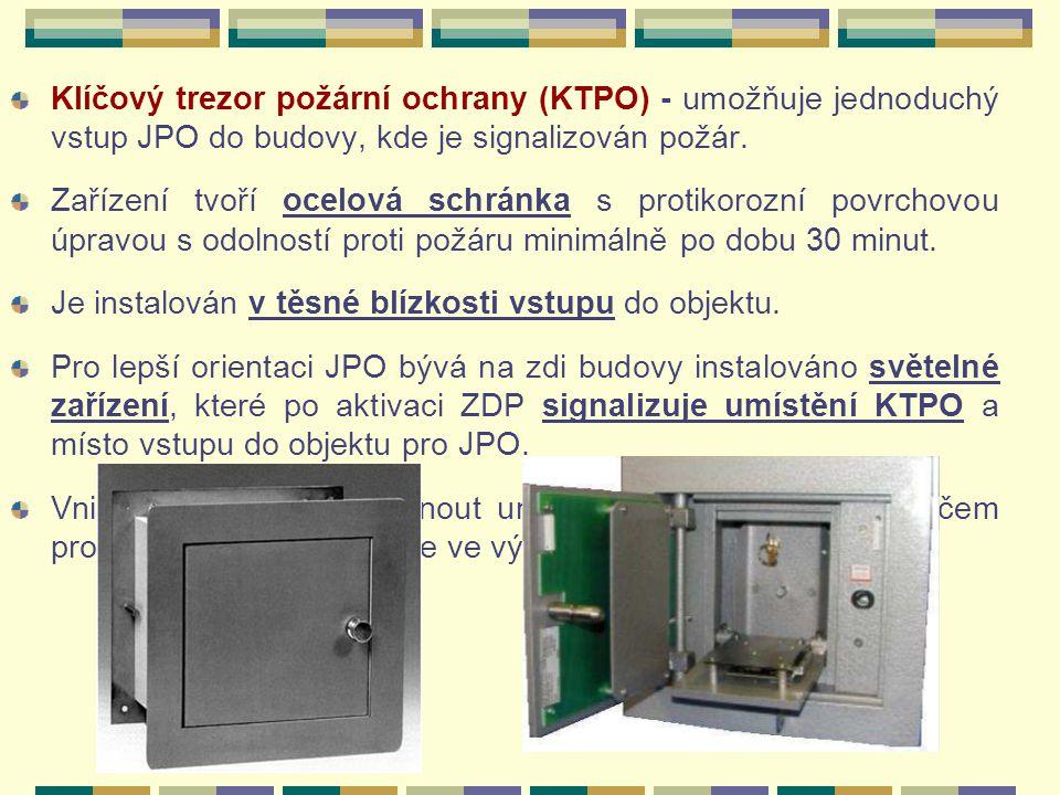Klíčový trezor požární ochrany (KTPO) - umožňuje jednoduchý vstup JPO do budovy, kde je signalizován požár.