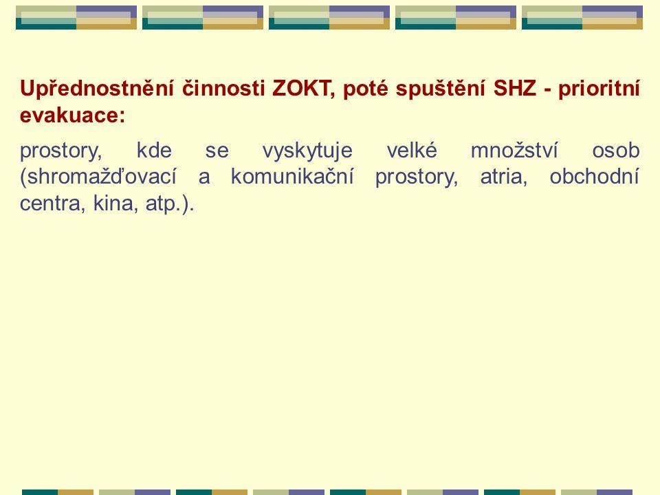 Upřednostnění činnosti ZOKT, poté spuštění SHZ - prioritní evakuace: prostory, kde se vyskytuje velké množství osob (shromažďovací a komunikační prostory, atria, obchodní centra, kina, atp.).