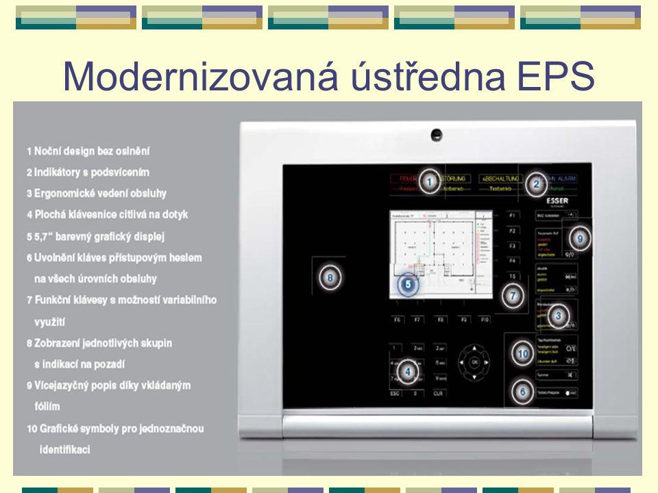 Doplňující zařízení EPS k nejrozšířenějším doplňujícím zařízením patří: Zařízení dálkového přenosu (ZDP) - zajišťuje přenesení základních informací o stavu EPS na předem určené místo (nejčastěji ohlašovna požáru HZS kraje).