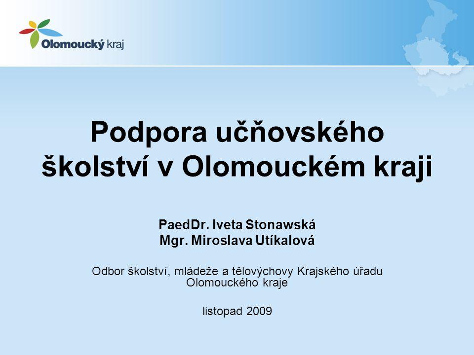 Podpora učňovského školství v Olomouckém kraji PaedDr. Iveta Stonawská Mgr. Miroslava Utíkalová Odbor školství, mládeže a tělovýchovy Krajského úřadu