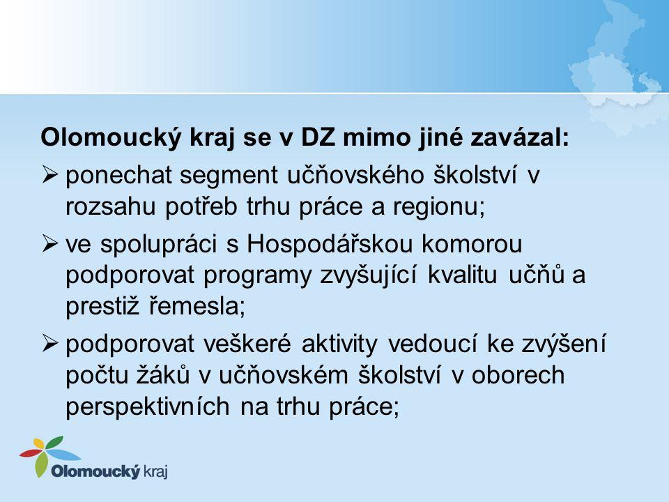 Olomoucký kraj se v DZ mimo jiné zavázal:  ponechat segment učňovského školství v rozsahu potřeb trhu práce a regionu;  ve spolupráci s Hospodářskou