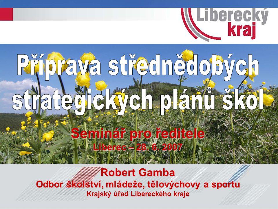 Seminář pro ředitele Liberec – 28. 6. 2007 Robert Gamba Odbor školství, mládeže, tělovýchovy a sportu Krajský úřad Libereckého kraje
